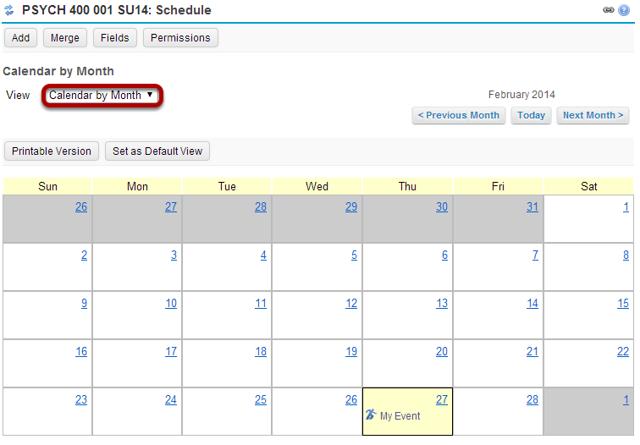 Calendar by month.