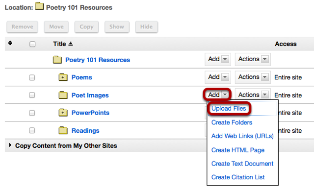 Click Add, then Upload Files.