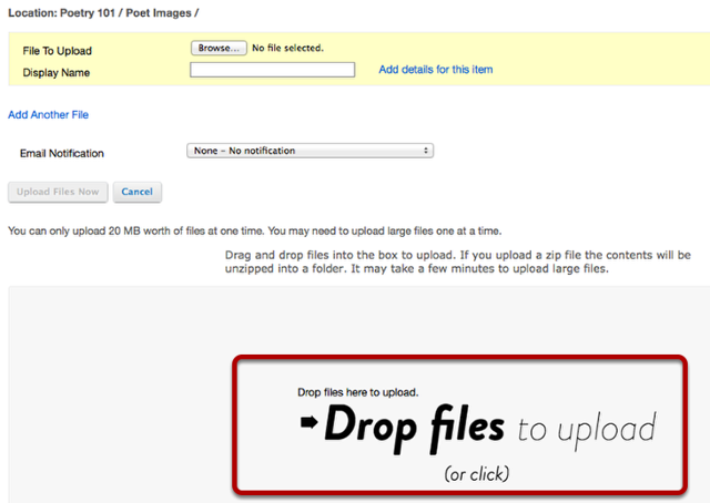 Drag and drop files from your computer.