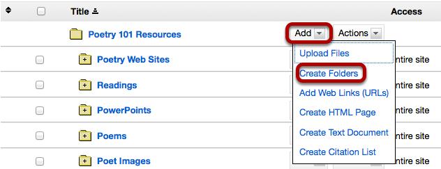 Click Add, then Create Folders.
