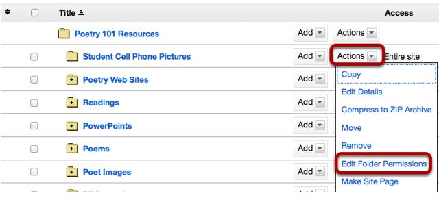Click Actions, then Edit Folder Permissions.