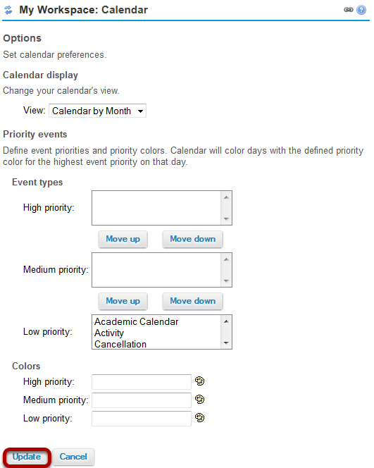 Select custom preferences and Update.