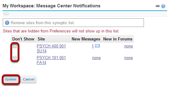 My Workspace: Message Center Notifications - Display Options