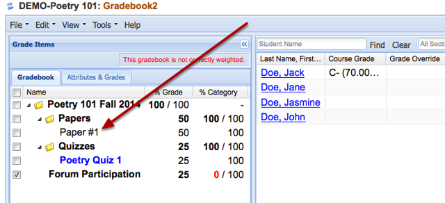 Option 2: Existing gradebook item.