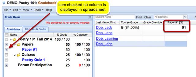 Grading: Example of grade displayed in Gradebook2 tool.