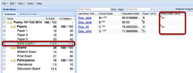 Example: (Weighted Category gradebook - Scoring by Letter Grade)