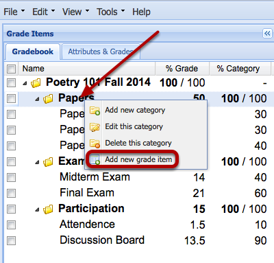 Case 1: Adding an extra credit item to an existing category