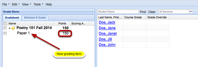Example of the new item added to the Gradebook (Graded by Points):