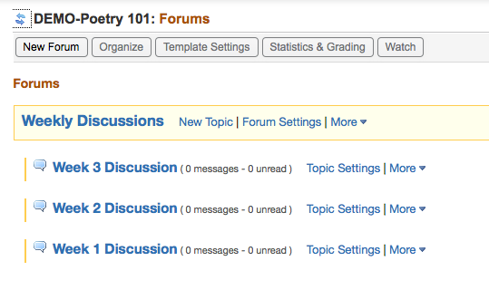 Create a Forum with Topics for students to discuss.