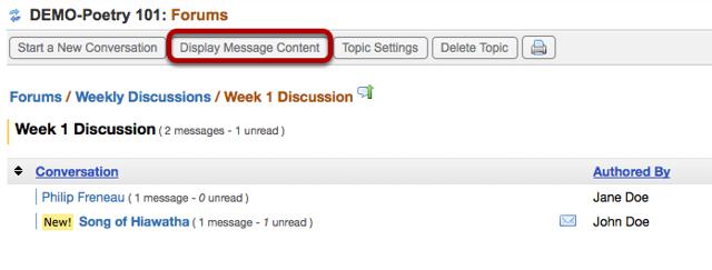 Click Display Message Contents.