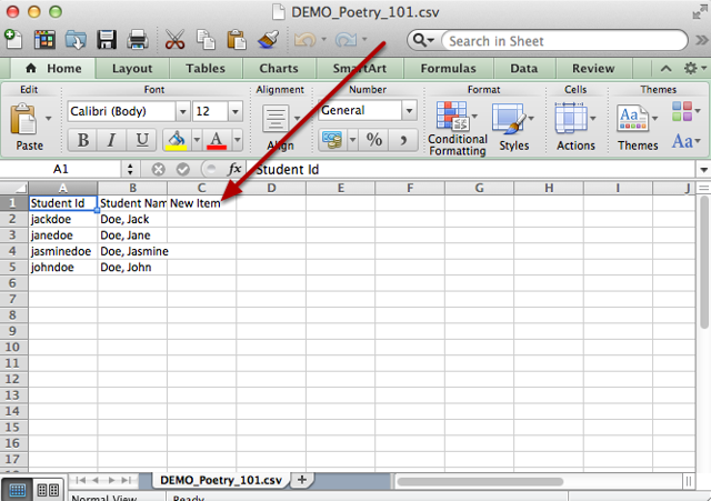 Open the downloaded .csv file in your Excel (or other) spreadsheet application.