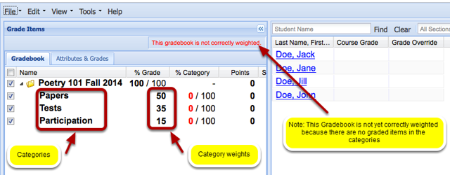 Example of multiple weighted categories
