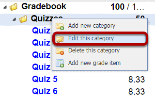 Right-click the category name and select Edit this Category.