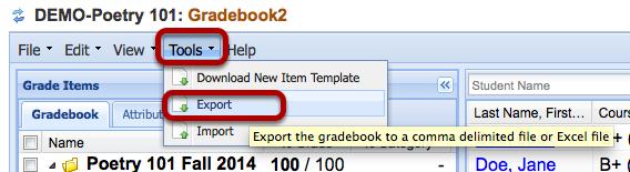 Click Tools > Export.