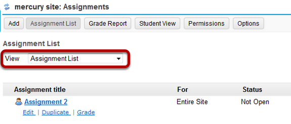 Use the View dropdown to select Assignment List by Student option.