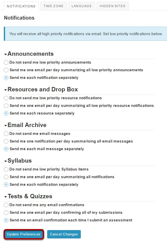 Select notification preferences.