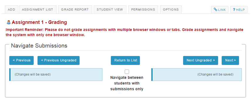 Navigate submissions.