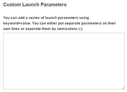 Custom launch parameters. (Optional)