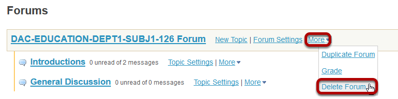 Select Delete Forum from the drop-down menu.