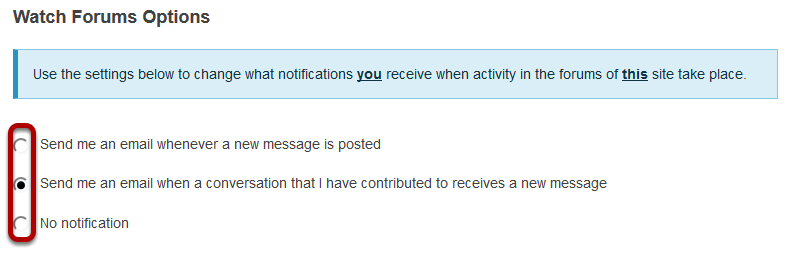 Choose your notification preference.