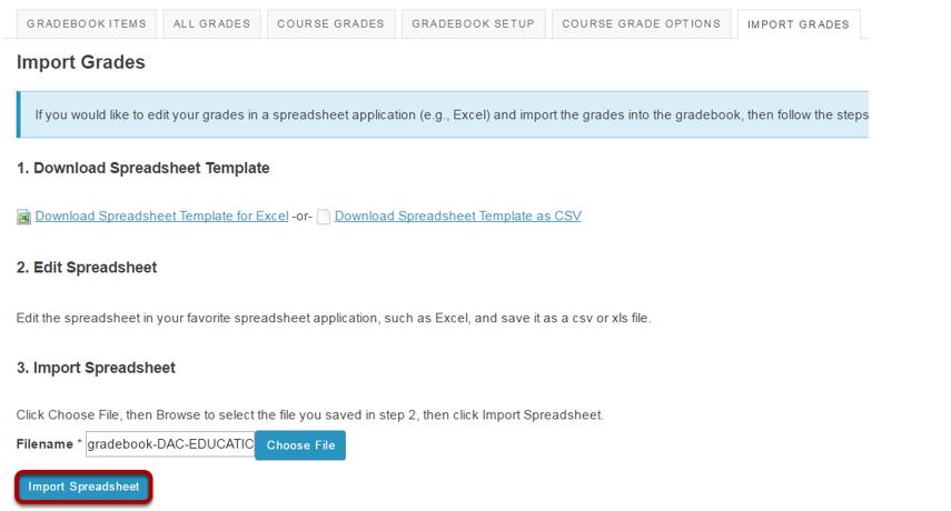 Click Import Spreadsheet.