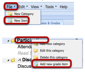 To add a new item, click File / New Item