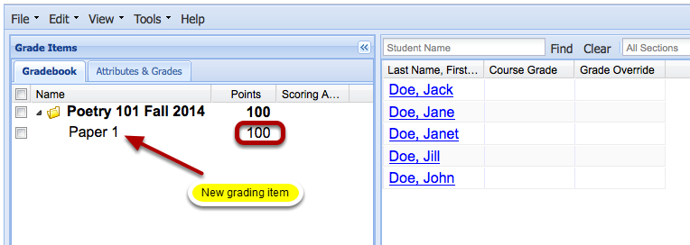 Example of the new item added to the Gradebook (Graded by Percentage):