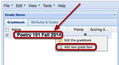 Add a grade item.
