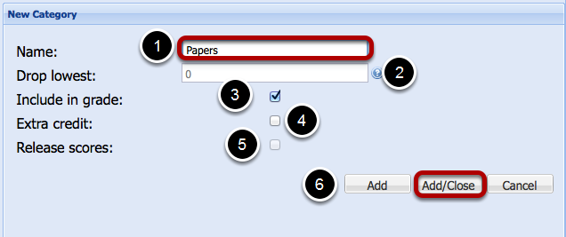 Enter Category information.