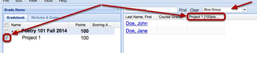 Display in spreadsheet.
