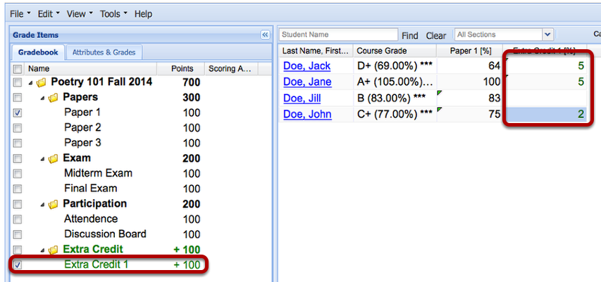Example: (Non-weighted Category gradebook - Scoring by Percentages)