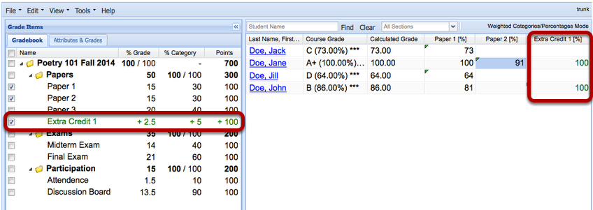 Example: (Weighted Category gradebook - Scoring by Percentages)