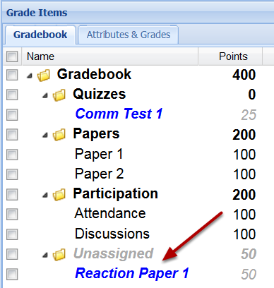 Option 1: Grade item sent to Gradebook from Assignment tool.