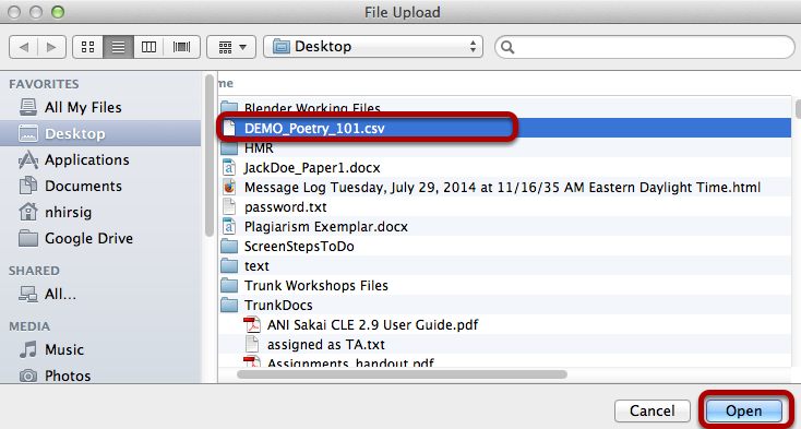 Locate the .csv file on our computer, then click Open (or Select).