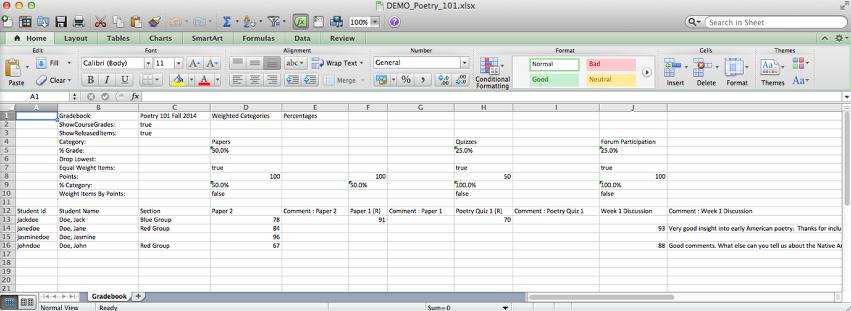 Example of a Gradebook2 Export file.