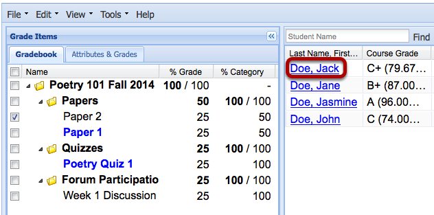 In the spreadsheet on the right, click on the name of the student.