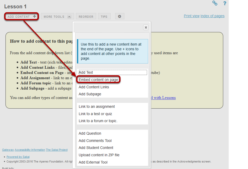 Click on Add Content, then Embed Content on a Page