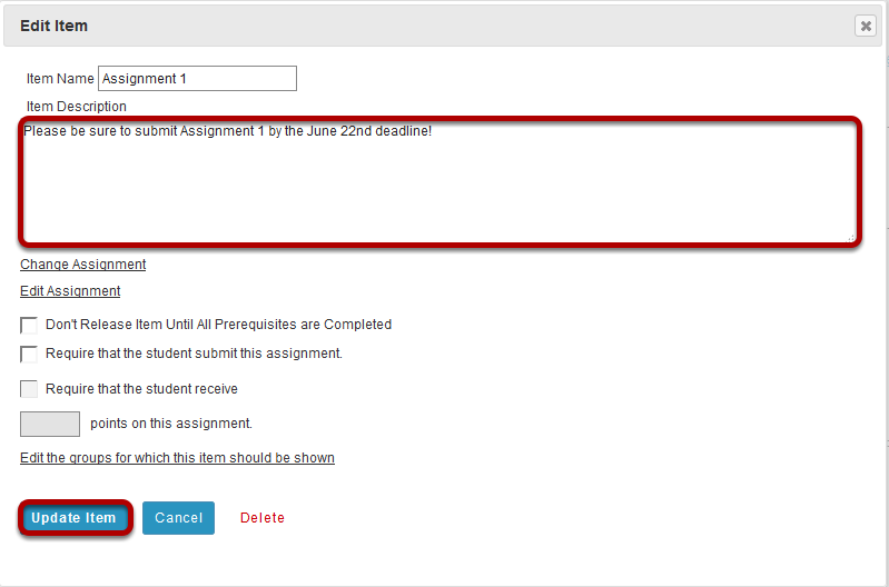 Add a description for the assignment, then click Update Item.