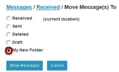 Select the new folder for the message.