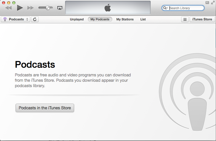 Open your preferred podcatcher application (e.g. iTunes).