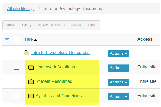 View folders in Resources.