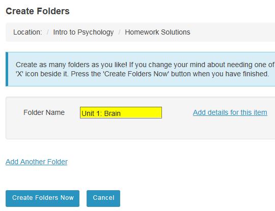 Enter a title for the subfolder.