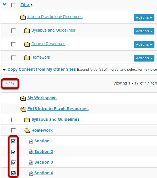 Select the files or folders you would like to copy, then click Copy.