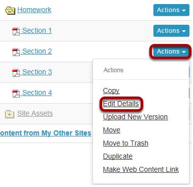 Method 2: Click Actions, then Edit Details.