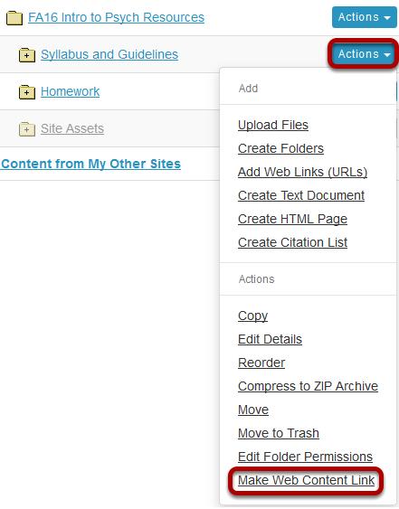 Click Actions, then Make Web Content Link.