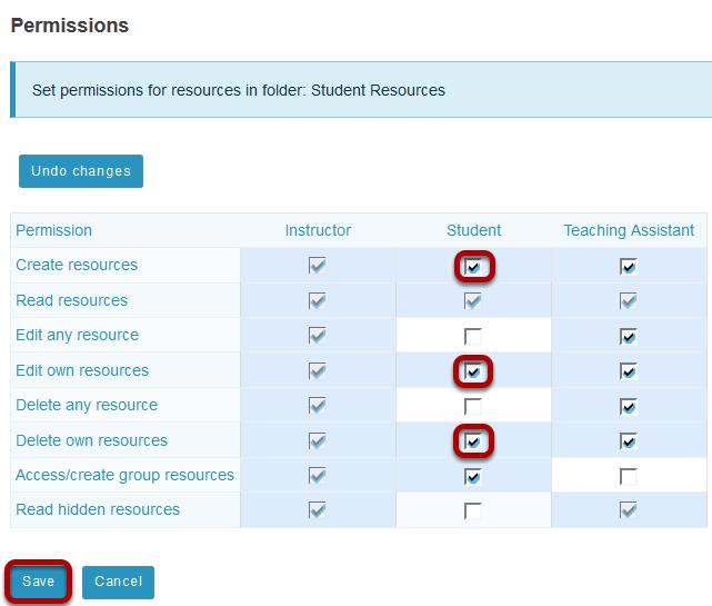 Modify student permissions, then Save.