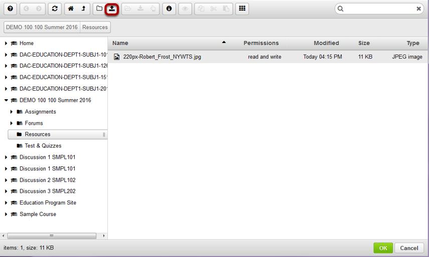 Click the Upload file icon.