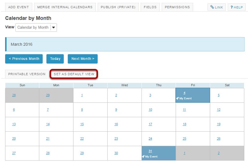 Set default view of calendar.