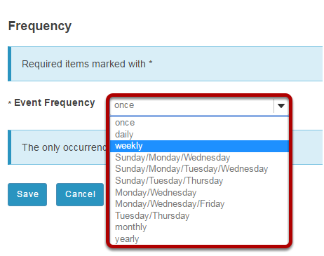 Select event frequency.