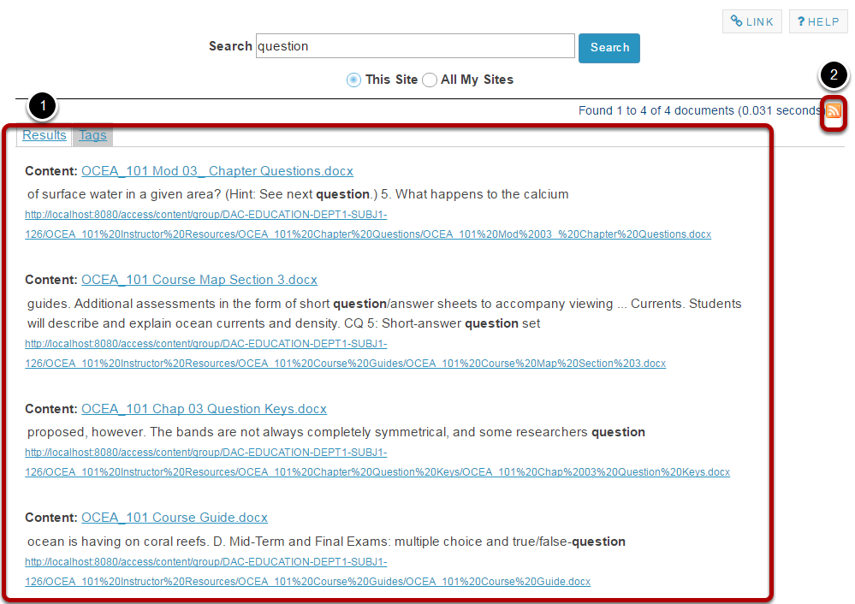 View search results.